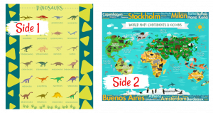 Dinosaur Names World Map Educational Learning Blankets Kids