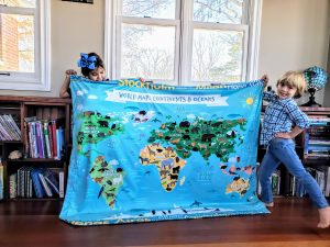 World Map Educational Learning Blanket