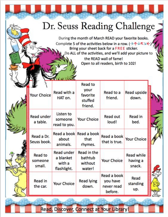 Dr Seuss Reading Challenge Chart