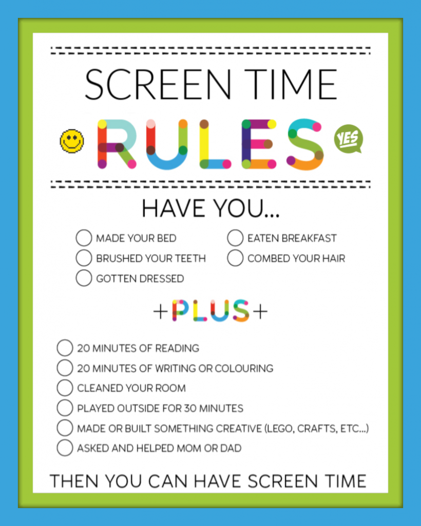 Screen Time Kids Contract Rules Checklist