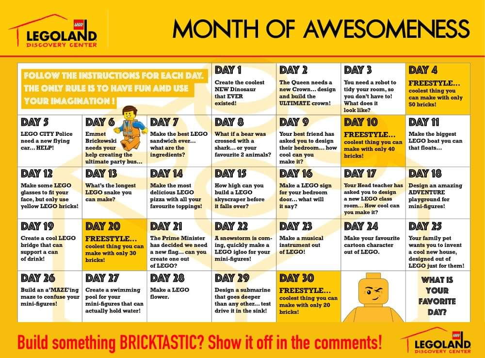 lego challenge calendar daily ideas build blocks schedule