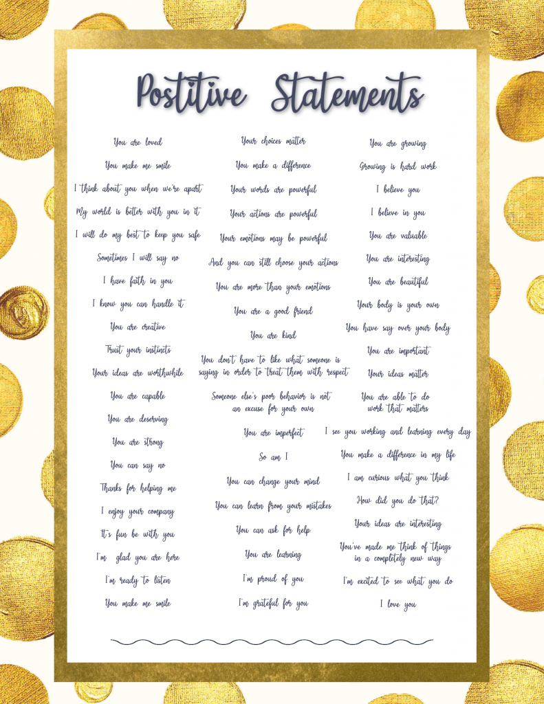 Positive things to say to kids children parenting