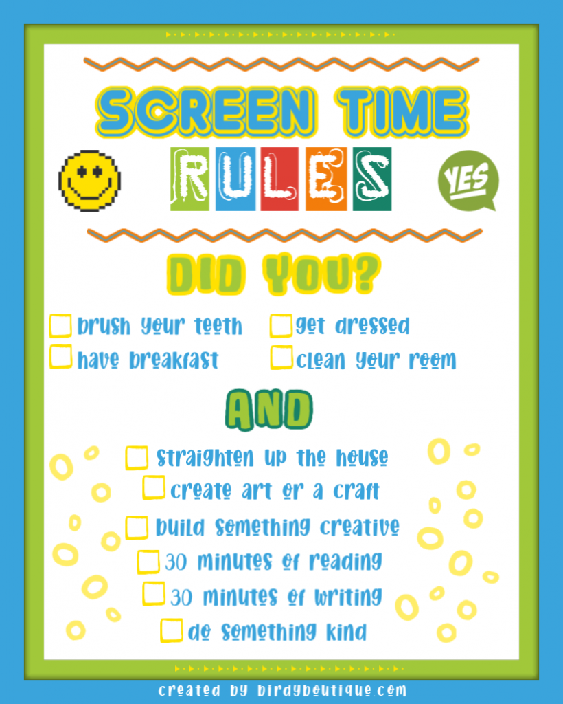 Screen Time Kids Contract Rules Checklist Childrens