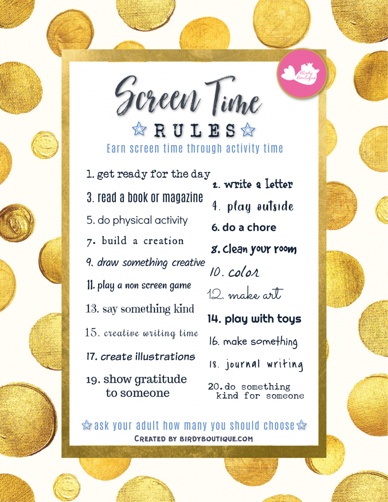 Screen Time Rules Contract List Earn Ideas