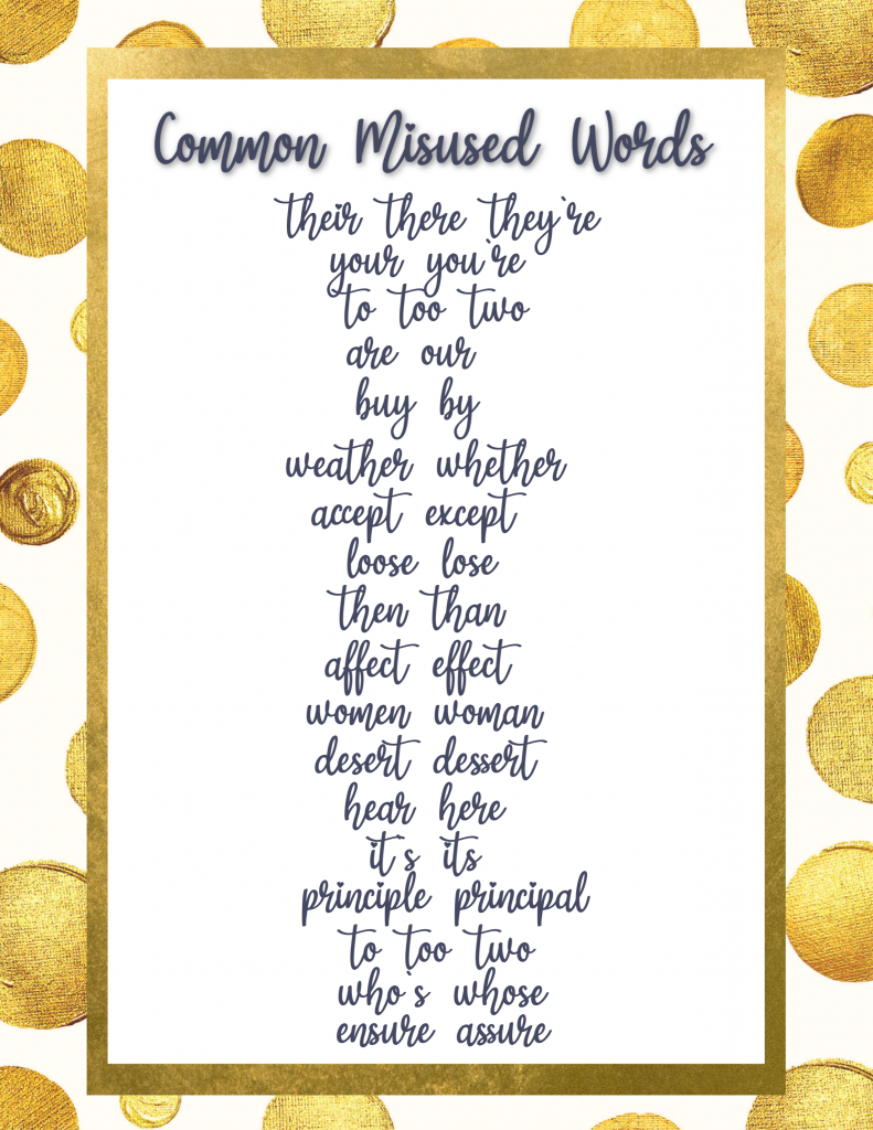 common misused misspelled words wrong